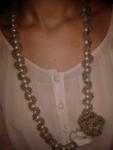 collana mohair e perle