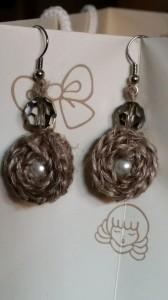 orecchini lino e perle