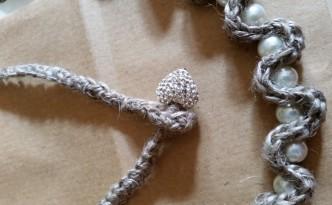 Lino e perle paqer collana e bracciale con cuore