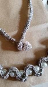 Lino e perle - collana e bracciale con cuore