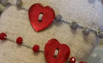 Braccialetto con cuore rosso di madreperla