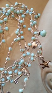 Collana seta e cristalli turchese