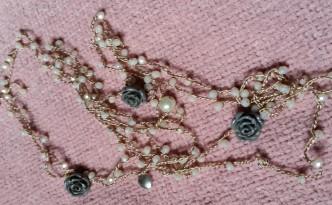 Collana di seta e cristalli handmade