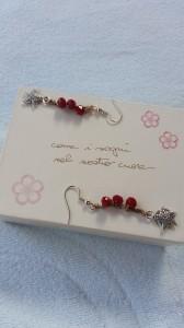 Orecchini seta e cristalli gioiello tessile